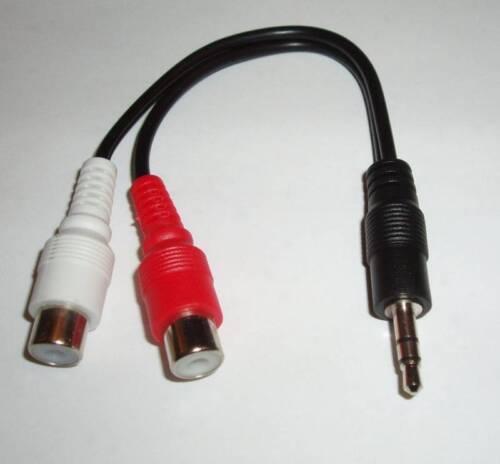 "3.5mm 1//8/"" Stereo Male Mini Plug to 2 Female RCA Cable"
