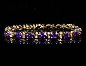 Vintage-12-Ct-Oval-Cut-Amethyst-amp-Diamond-14k-Yellow-Gold-Over-Tennis-Bracelet