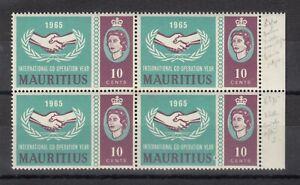 Mauritius-QEII-1965-10c-Block-Of-4-Blue-Dot-Flaw-MNH-J8060
