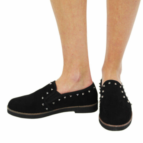 Women/'s Ladies Loafers Girls Flat Studs Work School Shoes Comfort Pumps Size3-8