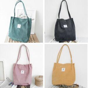 Women-Durable-Canvas-Tote-Large-Capacity-Handbag-Corduroy-Casual-Shoulder-Bag-UK
