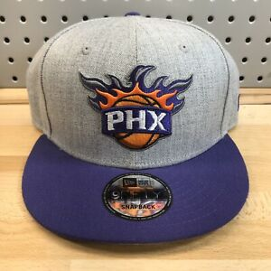 Phoenix-Suns-NBA-Basketball-New-Era-9Fifty-Snap-Back-Flat-Bill-Gray-Hat-EUC-Cap