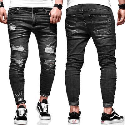BEHYPE Jeans Herren Ripped Slim Fit Chino Hose Röhrenjeans Schwarz Destroyed NEU | eBay