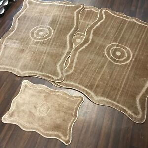 Details About Romany Gypsy Washable Mats Full Set Of 4 Rugs Large 100x140cm Dark Beige