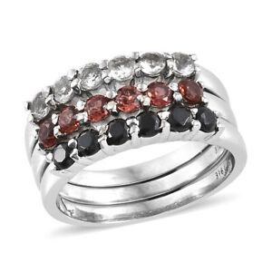 White-Stainless-Steel-White-Topaz-Black-Spinel-Set-of-3-Ring-Size-5-Cttw-1-8