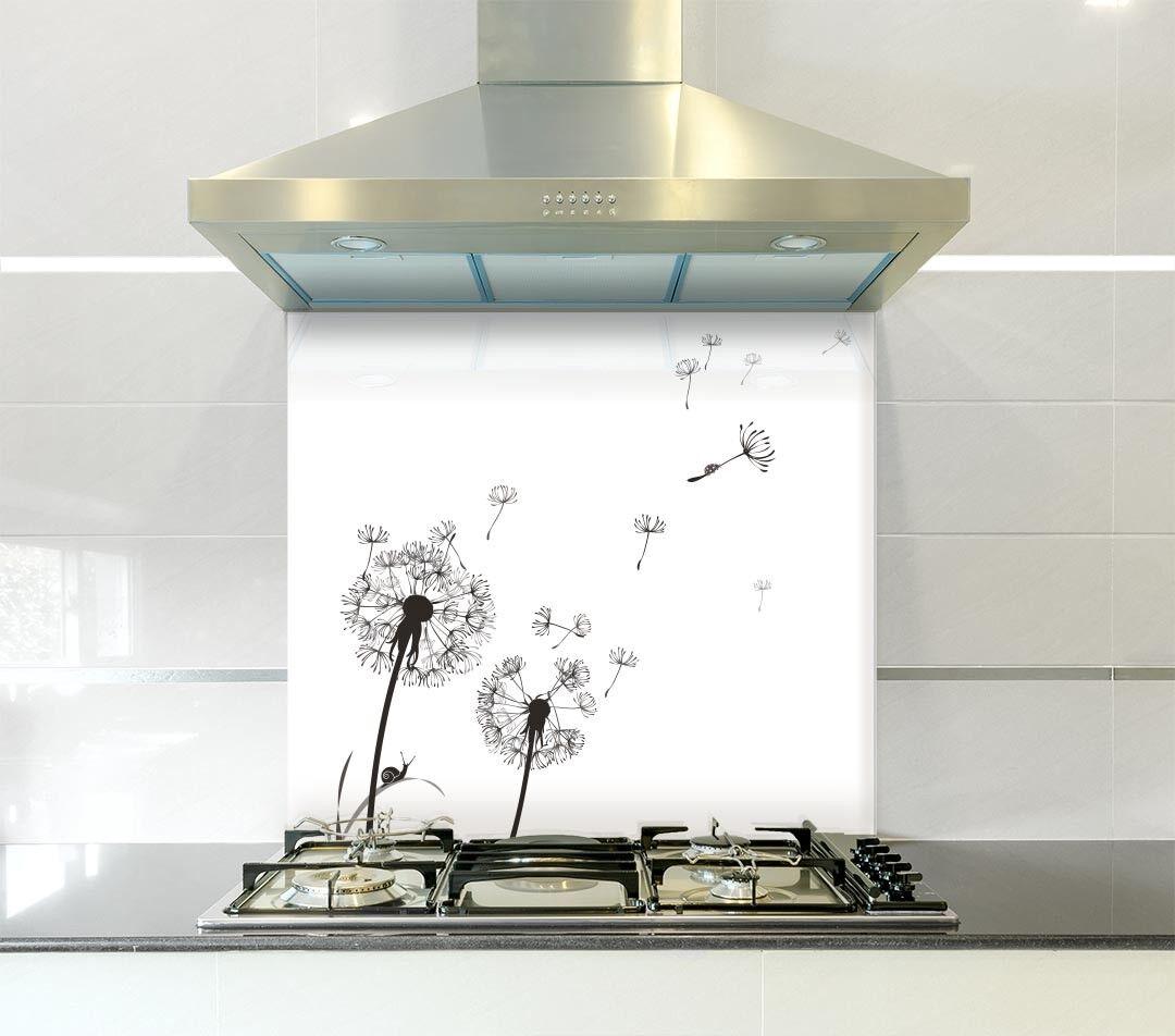 nero Dandelion Vetro Splashback in varie taglie resistente al calore fino a 500 ° C