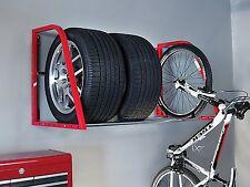 Tire Storage Wall Mount Auto Shelf Loft Wheels Bike Rack Garage Organize Shop