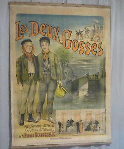 les-deux-gosses-lithographie-originale-couleurs-Levy-1895-affiches-americaines