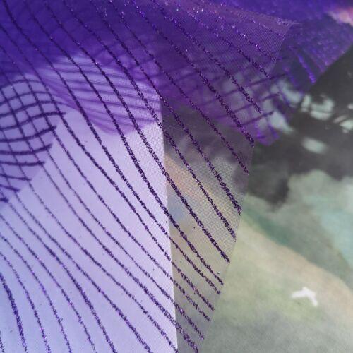 "Glitter Sparkling  Striped /& Wavy Soft Fabric 54/"" Wide UK Seller"