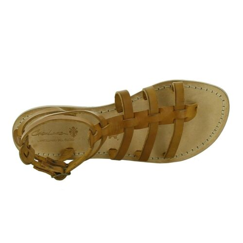 Details about  /Italian strappy gladiator sandals shoes for women handmade in tan soft leather