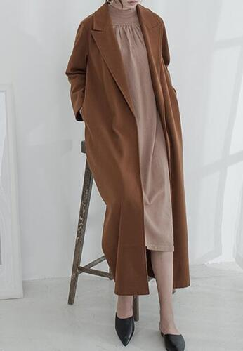 Yh Long Overcoat New Oversize Cashmere Maxi uldbeklædning Womens Lapel Vintage 4z1xwAqB