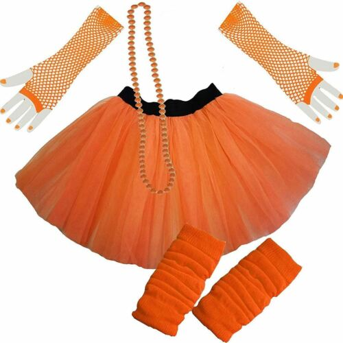 Womens Neon 2 Layer Tutu Skirt Leg Warmer Short Fishnet Gloves Bead Fancy Set