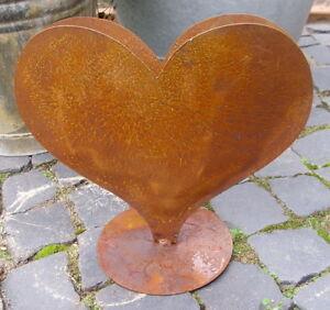 Décoration de Jardin Pot de Fleurs Coquille Cœur Métal avec Edelrost ...