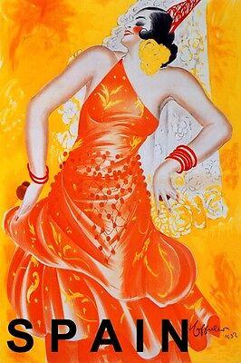 "FASHION GIRL FLAMENCO DANCE SPAIN TOURISM CAPPIELLO VINTAGE POSTER REPRO 20""X30"""