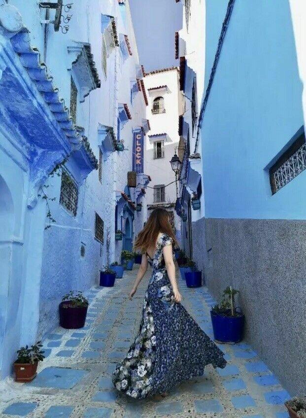 Free People Nuevo con etiquetas talla  4 Pequeño Hermoso Maxi Floral Vestido Nuevo Azul  ¡envío gratis!