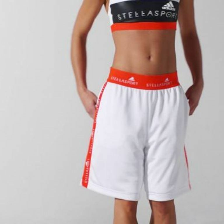 ADIDAS STELLASPORT White orange MESH Training LOGO SHORTS AZ7783 Sport ( S )