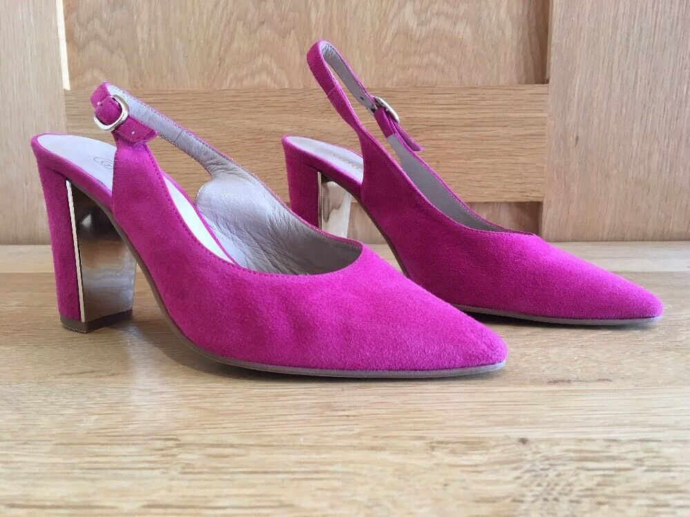 Small Schuhe Größe 2 Hot Pink Suede Sling Back Sandales By Dibia