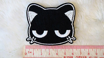 kiTki black kitty cat head iron-on embroidered patch emblem applique knit weave