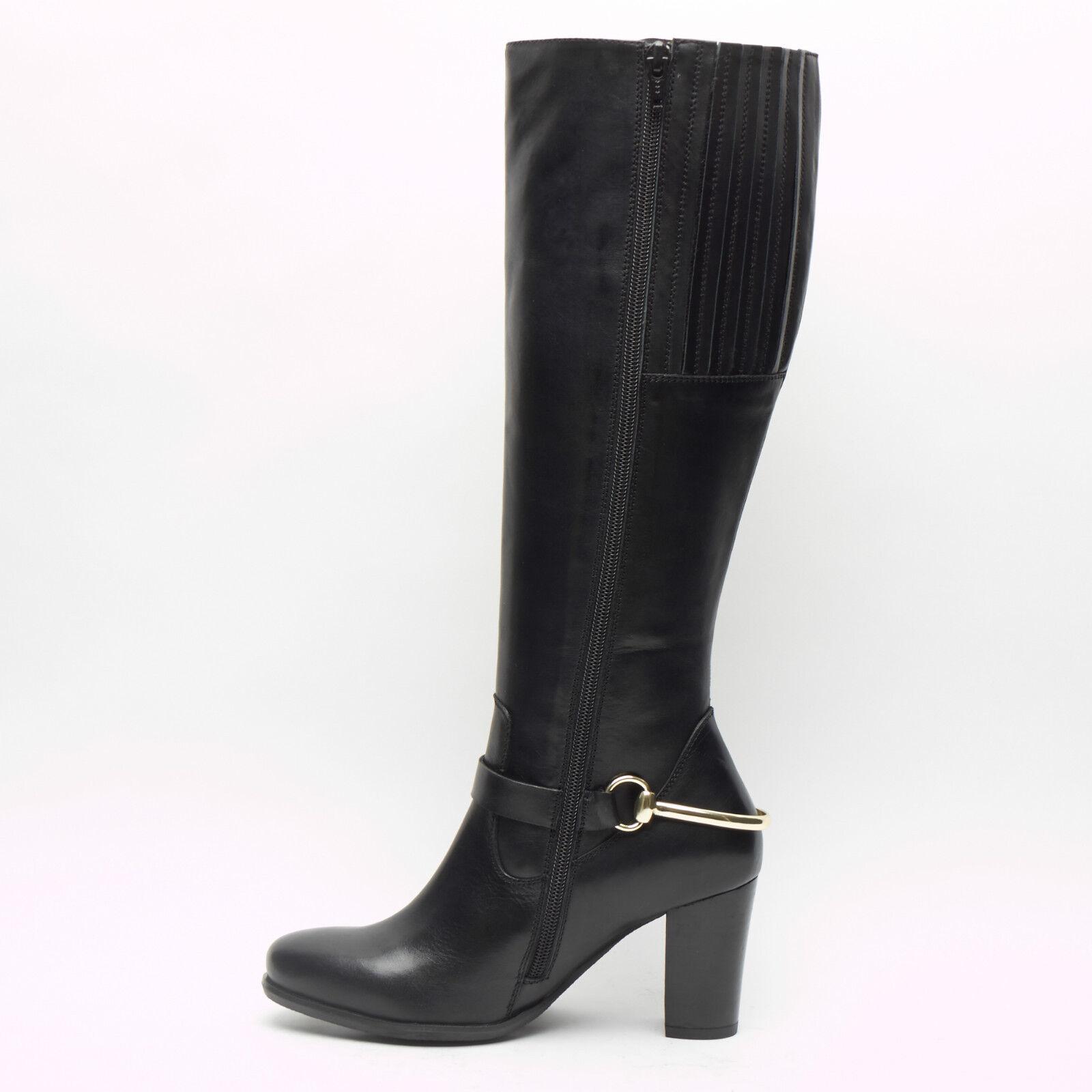 Mujer Dama Bloque De Cuero hasta Real hasta Cuero la Rodilla Tacón Alto Zapatos botas Largas bba211