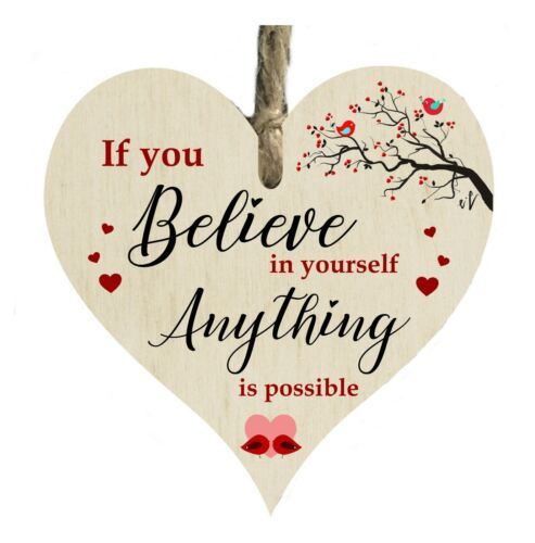 Believe In Yourself Quote Wooden Heart Shape Plaque Gift Sign card htc91