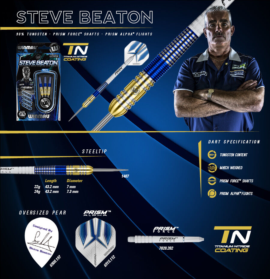 Winmau Steve Beaton 90% Tungsten bluee gold Titanium Nitrade Coating 24g