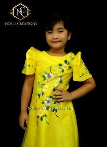 Kids Filipiniana Dress Handpainted Mestiza Gown Santacruzan Philippine Costume Ebay