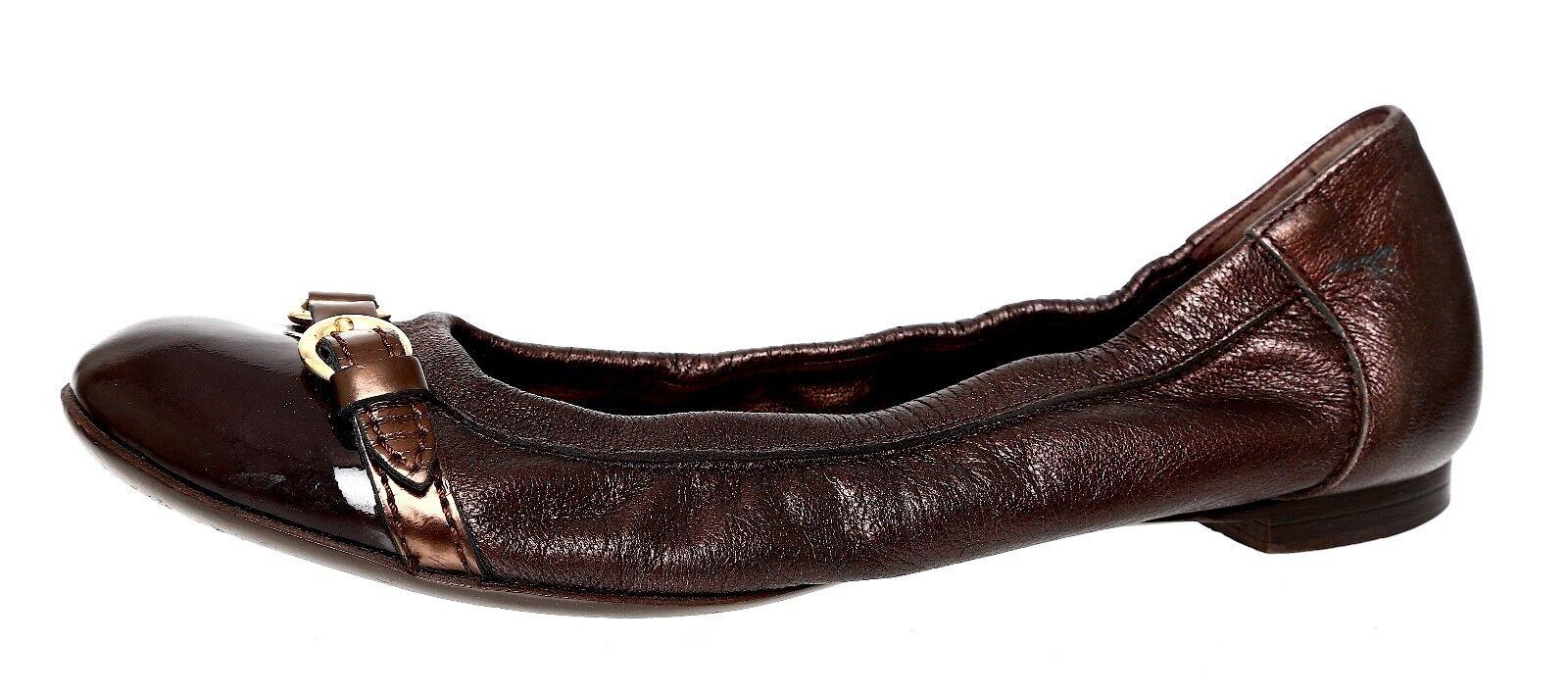 AGL Cap Toe Ballet Leather Flat Metallic Women Sz 37.5