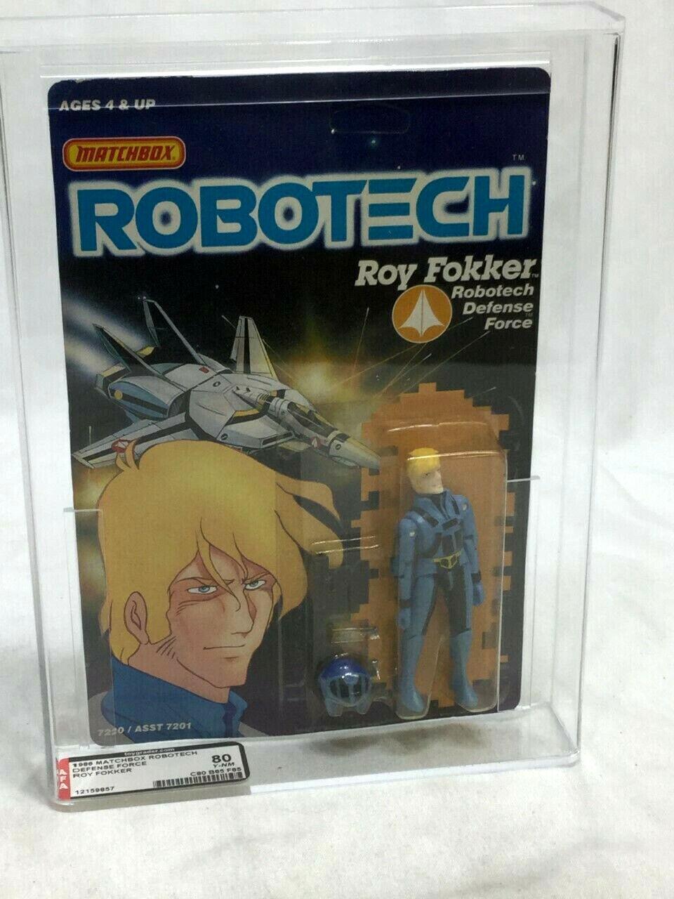 1986 Vintage Matchbox Robotech Roy Fokker figura menta en tarjeta sellada Cochedada autoridad Figura de Acción 85 Como Nuevo