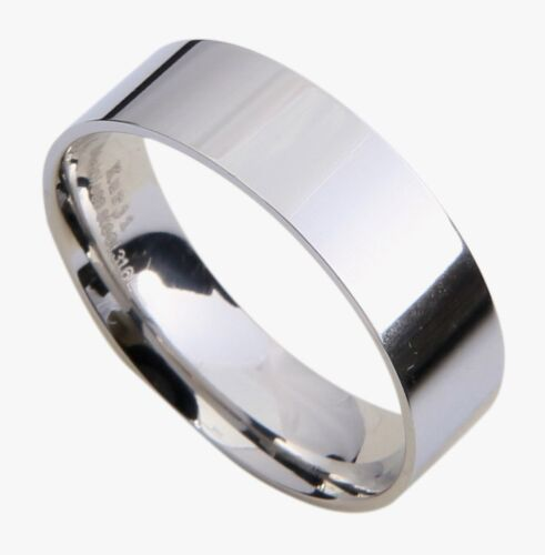 Mens Stainless Steel 6mm Flat Classic Wedding Band Ring Polished All Sizes 7-16