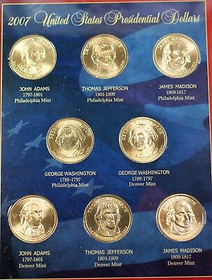 Complete set 2007-2016 P /& D President Dollar in Coin Tubes 78 Unc Bu Coins