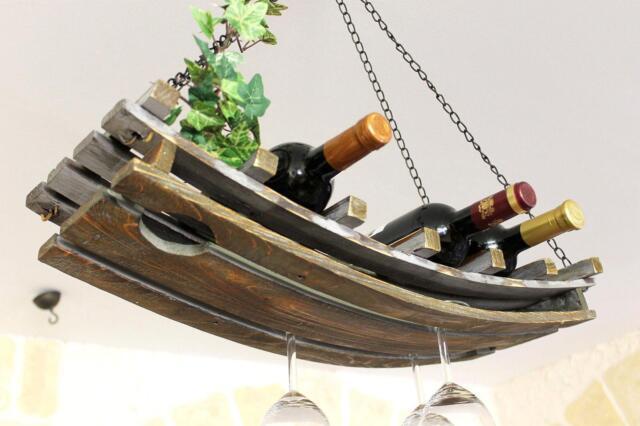 Wine Rack 5089 Ceiling Shelf Wooden 65cm Hanging Bottle Holder Ebay