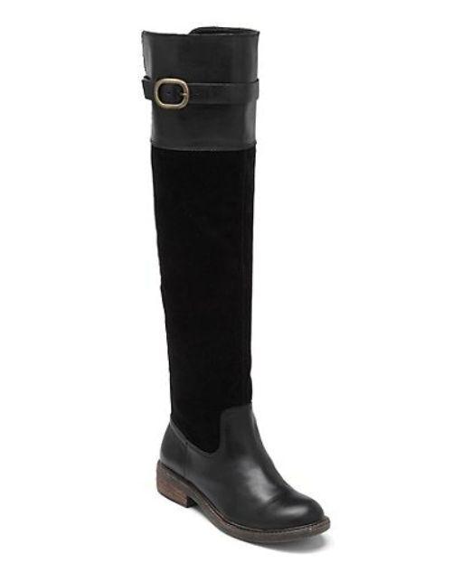 Lucky Brand Nuevo  Negro Suede & Leather Nivo sobre la rodilla botas