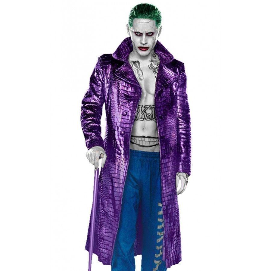 Joker Suicide Squad JaROT Leto lila Crocodile Pattern Faux Leder Coat