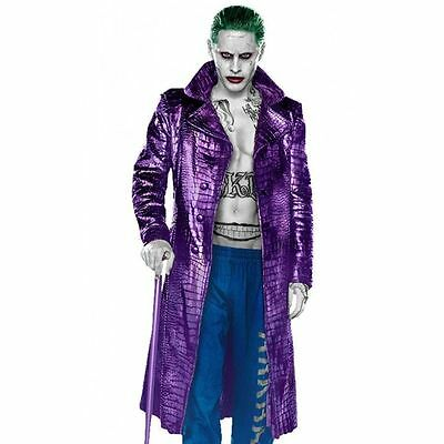 Jared Leto Joker Suicide Squad Purple Halloween Costume trench Coat Faux Leather