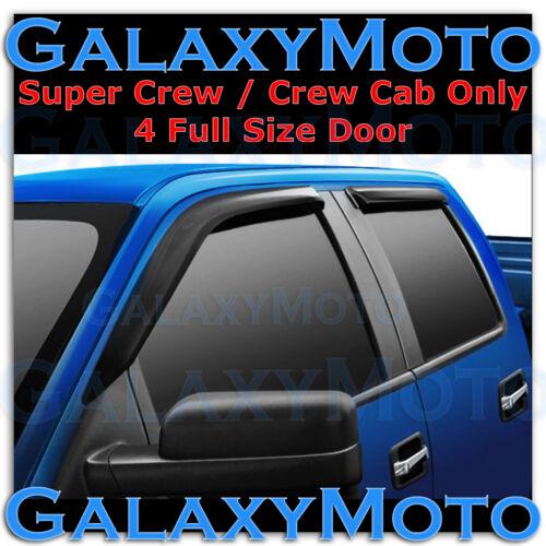 Ford F150 Super Crew Cab Smoke Tint 4pc set Window Vent Visor Rain Sun Guard