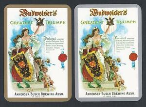 150-636-vintage-EXTRA-WIDE-swap-card-MINT-pair-Advert-Budweiser-Beer