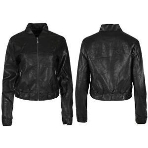 Womens-Ladies-Faux-Leather-Emboss-Floral-Flock-Biker-Zip-Up-Bomber-Coat-Jacket