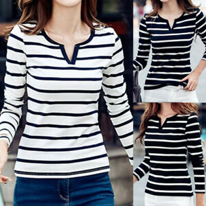 Womens-Striped-Tshirt-Ladies-Long-Sleeve-T-Shirt-Tops-Slim-Fit-Basic-Blouse-LIU