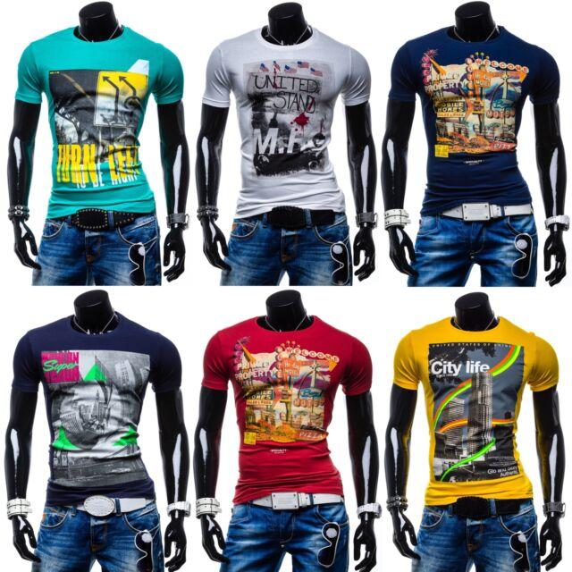 GLO-STORY Herren T-Shirt Motiv Kurzarm Shirt Basic Aufdruck MIX  3C3 Farbwahl