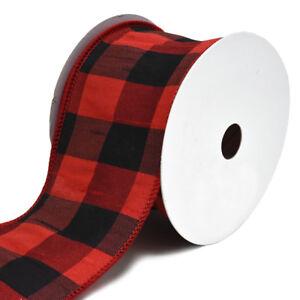 Dupioni-Plaid-Buffalo-Wired-Christmas-Ribbon-2-1-2-Inch-10-Yard