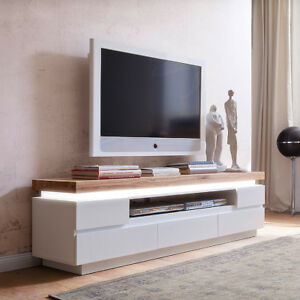 lowboard 2 romina tv board tv unterschrank wei matt lack und eiche massiv led ebay. Black Bedroom Furniture Sets. Home Design Ideas