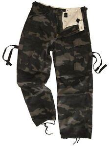 Dark Camouflage BDU TROUSERS All Sizes NIGHT CAMO Black Cargo ...