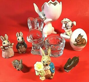 Rabbit figurines planter Lot of 9 Goebel Precious moments Miscellaneous Bunny