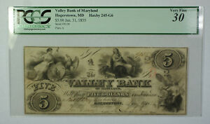 Jan-31-1855-5-Valley-Bank-of-Maryland-Hagerstown-MD-PCGS-VF30-Haxby-MD-245-G6