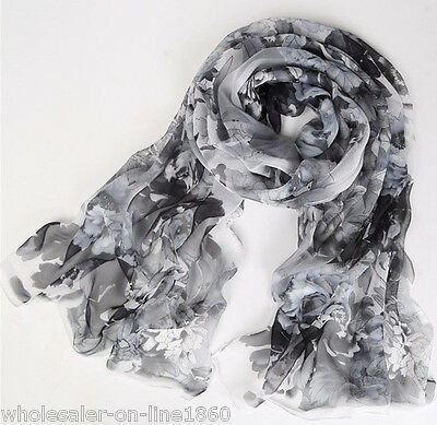 Women Fashion Long Style Soft Wrap Lady Shawl Black White Flower Chiffon Scarves