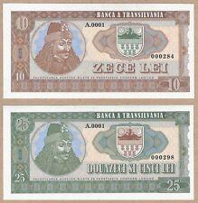 Romania - Transylvania 10 25 Lei 2016 UNC SPECIMEN Test Banknote Set - Dracula