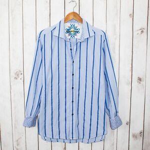 Robert-Graham-Men-039-s-XL-Button-Front-Shirt-Blue-Striped-Flip-Cuffs-Classic-fit