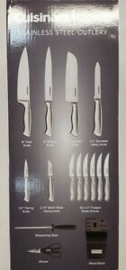 CUISINART 15 Piece Stainless Steel Hollow Handle Block Set C77SS-15 Pack Silver