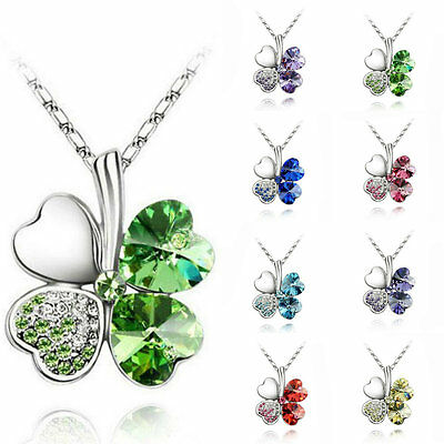 Fashion Women's Four Leaf Silver Clover Chain Statement Crystal Pendant Necklace