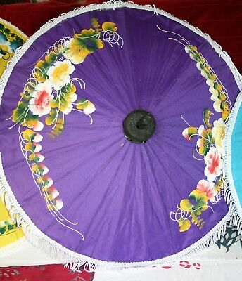 "DECORATIVE THAI PARASOL 20"" PURPLE SUN UMBRELLA HANDMADE FABRIC FLORAL FRINGED"